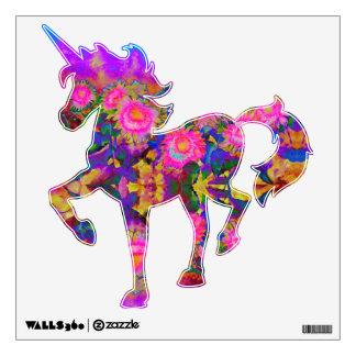 Pink sunflower unicorn wall decal