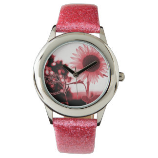 Pink sunflower watch