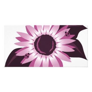 Pink Sunflower With Ladybugs Customized Photo Card