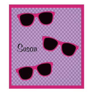 Pink Sunglasses and Purple Checkered Background Posters