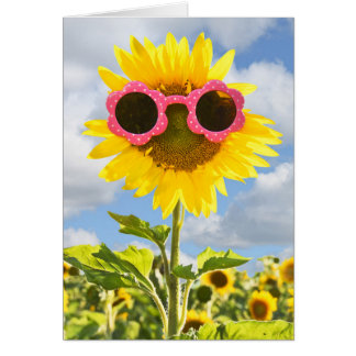 Pink Sunglasses on Sunflower Card