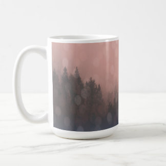 Pink Sunrise Frost Trees Forest Landscape Fog Coffee Mug