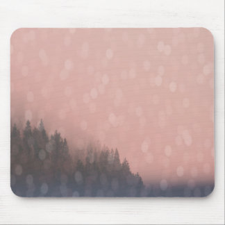 Pink Sunrise Frost Trees Forest Landscape Fog Mouse Pad