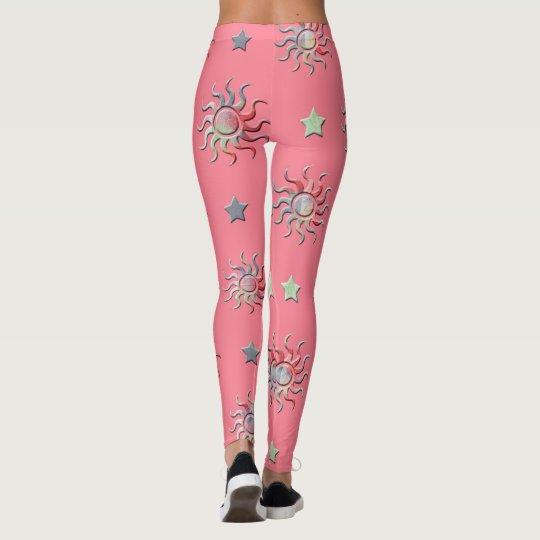 Pink suns and stars pattern leggings