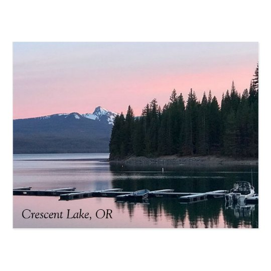 Pink Sunset at Crescent Lake Postcard