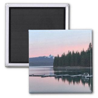 Pink Sunset at Crescent Lake Square Magnet