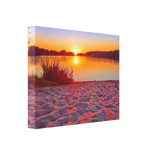 Pink Sunset on the Beach Wrapped Canvas