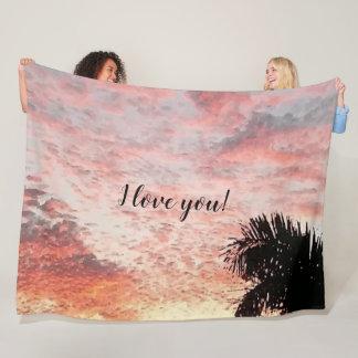 Pink Sunset Photo Painting I love you Fleece Blanket