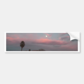 Pink sunset with the moon bumper sticker