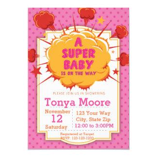 Pink Super Baby Shower Invitation