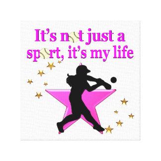 PINK SUPER STAR SOFTBALL IS MY LIFE DESIGN CANVAS PRINT