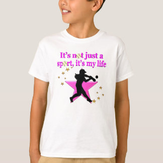 PINK SUPER STAR SOFTBALL IS MY LIFE DESIGN T-Shirt