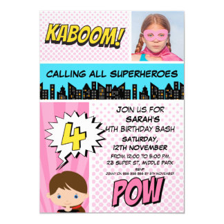 Pink Superhero Photo 4th Birthday Party Invitation