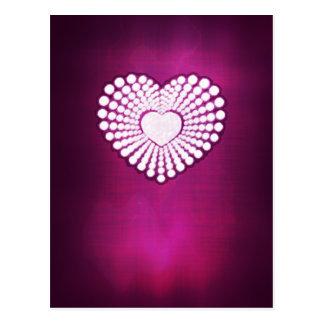 Pink superstar heart postcard