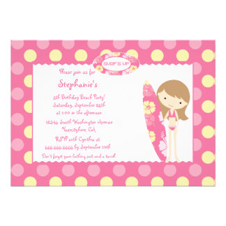 Pink surf s up swimming birthday party invitation