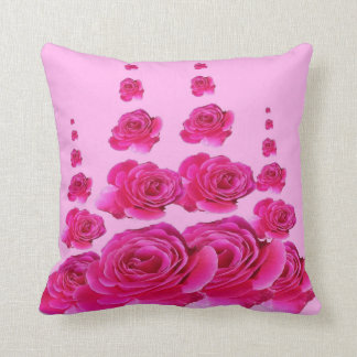 PINK SURREAL TOWERS OF  FUCHSIA PINK ROSES THROW PILLOW