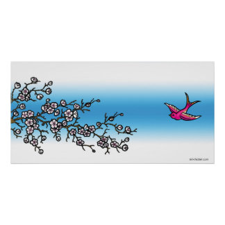 Pink Swallow and Cherry Blossom Poster