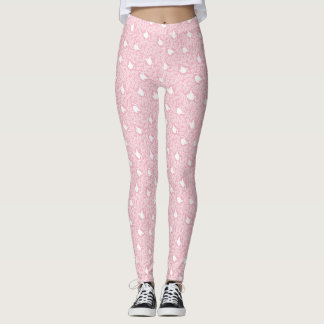 Pink Swan and Floral Pattern Leggings