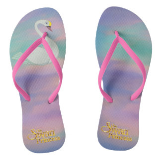 Pink Swan Princess flip flops