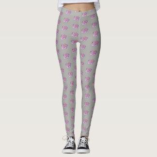 Pink Swans /Gray - Leggings