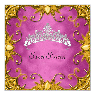 Pink Sweet 16 Birthday Party Gold White Tiara Card