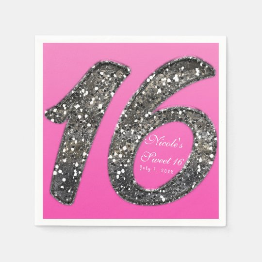 Pink Sweet 16 Glitter Glam Birthday Party Custom Disposable Napkins