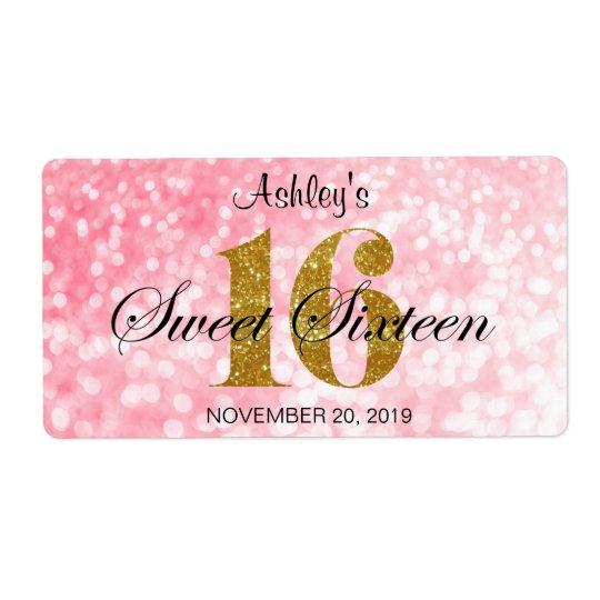 Pink Sweet 16 Gold Glitter Lights Favour Label