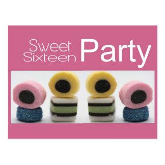 pink sweet 16 invitation postcard