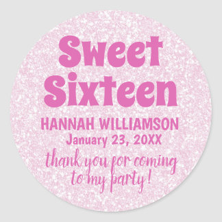 Pink Sweet 16 Party Thank You Stickers