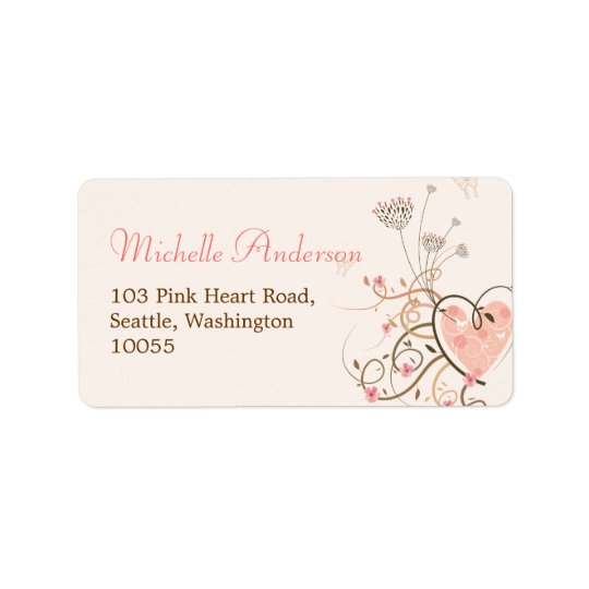 Pink Sweet Heart Butterfly Florals Address Labels