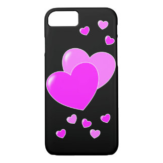 Pink sweet hearts on black iPhone 8/7 case