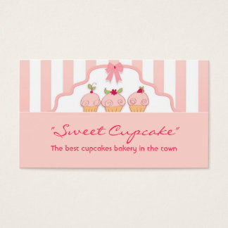 pink sweet milky cupcakes bakery business card