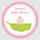 Pink Sweet Pea Baby Shower Favour Tag Sticker