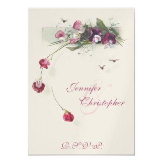 Pink Sweet Pea flowers wedding RSVP Card