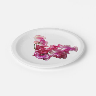 Pink Sweet Pea Heart 7 Inch Paper Plate
