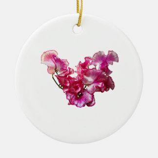 Pink Sweet Pea Heart Ceramic Ornament