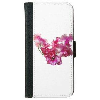 Pink Sweet Pea Heart iPhone 6 Wallet Case