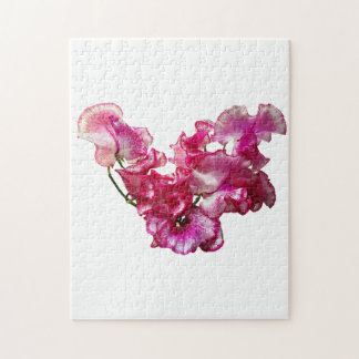 Pink Sweet Pea Heart Jigsaw Puzzle