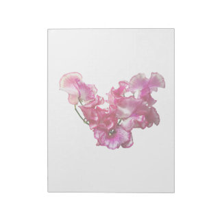 Pink Sweet Pea Heart Notepad