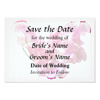 Pink Sweet Pea Heart Save the Date Card