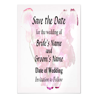 Pink Sweet Pea Heart Save the Date Magnetic Invitations