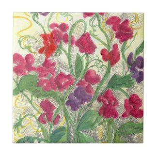 Pink Sweet Pea Watercolor Flower Garden Tile Art