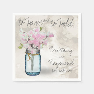 PINK SWEET PEAS VINTAGE MASON JAR WATERCOLOR DISPOSABLE NAPKINS