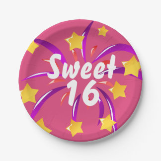 Pink Sweet Sixteen 16 Paper Plates with Fireworks
