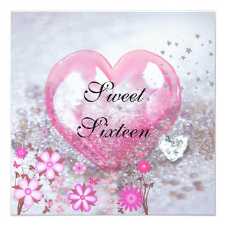 Pink SWEET SIXTEEN 16th Birthday Party Card