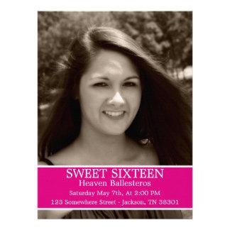 "Pink Sweet Sixteen Birthday Invites 6.5"" x 8.7"