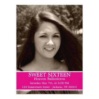 "Pink Sweet Sixteen Birthday Invites 6.5"" x 8.7 6.5"" X 8.75"" Invitation Card"