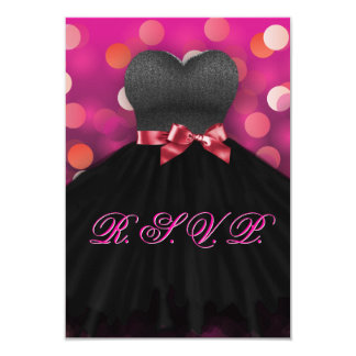 Pink Sweet Sixteen Black Dress Birthday RSVP Card