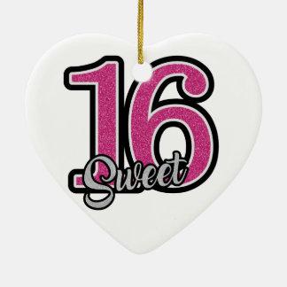 Pink Sweet Sixteen Ceramic Heart Ornament