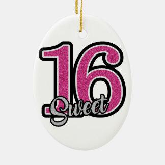 Pink Sweet Sixteen Ceramic Oval Ornament
